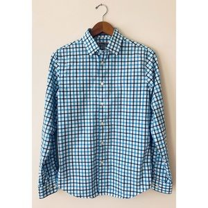 Express ✈️ Men's Fitted Blue & White Plaid Shirt